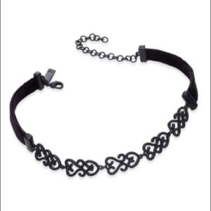 INC Black-Tone Jet Pave Velvet Choker Necklace